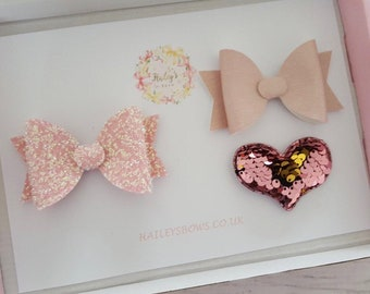 Pink Heart Set - Girls Hair Accessory Set - Hair Clip - Glitter Hair Bow