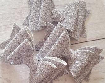 Grey Glitter Hair Bow - Girls Hair Accessory - Hair Clip - Baby Headband