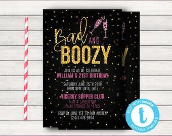 Bad And Boozy 21st Birthday Invitation Printable Elegant 30th