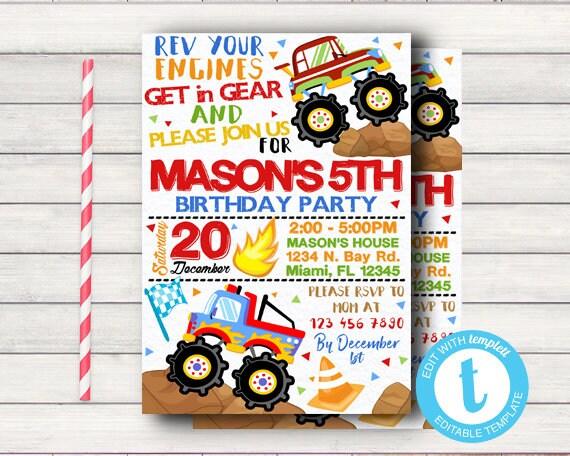 Truck Birthday Party Invitation Fun Ride Themed Invite Kids Driving Boys