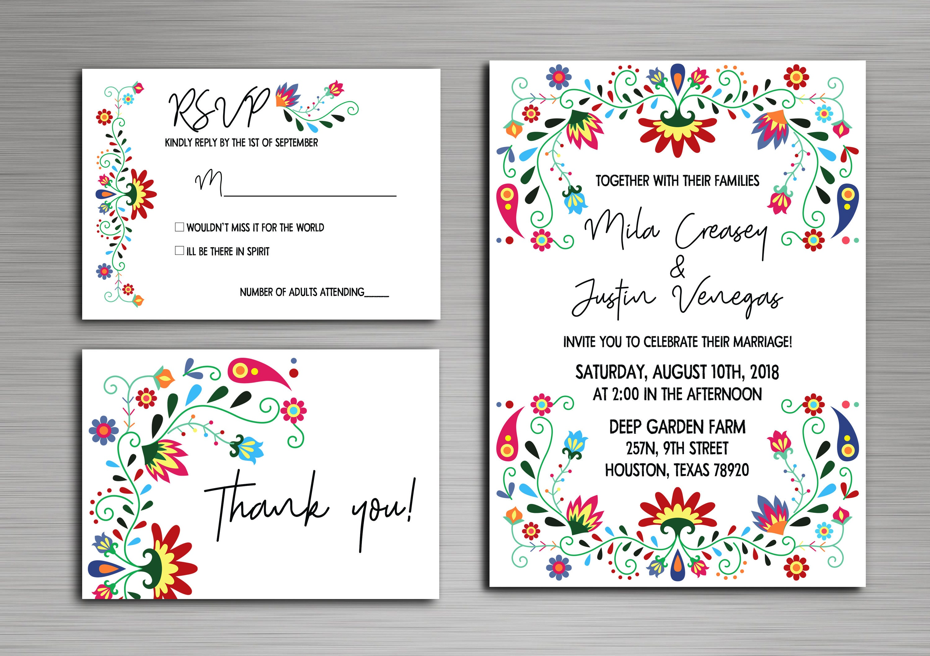 Colorful Mexican Inspired Wedding Mexican Wedding Invitations Etsy