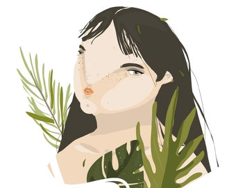 "Illustration ""GIRL with TROPICAL LEAVES"""