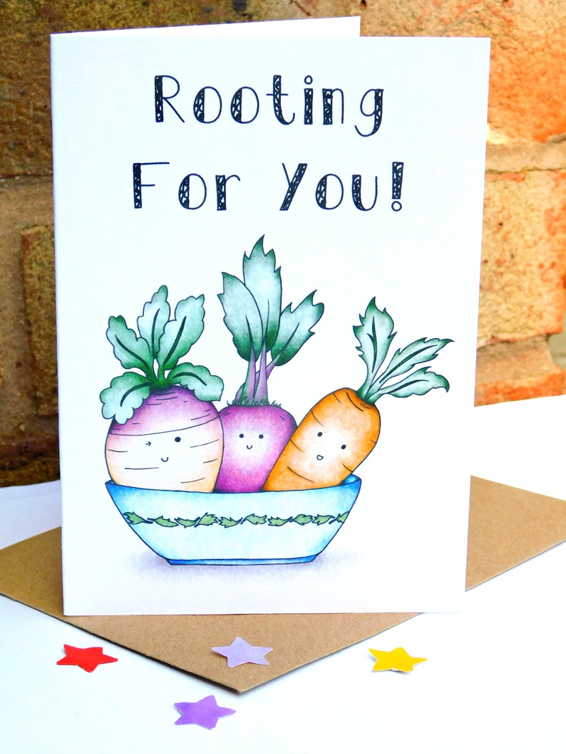 Leaving Job Card Food Pun Card Graduation Card Vegetable Card New Job Card Back To School Card Good Luck Card Rooting For You!