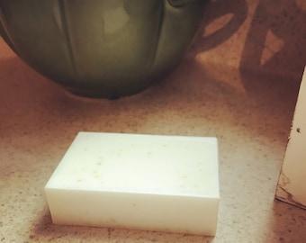 Farm fresh raw goat milk soap in Lemongrass Sage. Essential oils. Shea butter. Natural. Aromatherapy. Organic. Clean