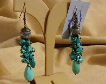 Earrings with turquoise and Jasper