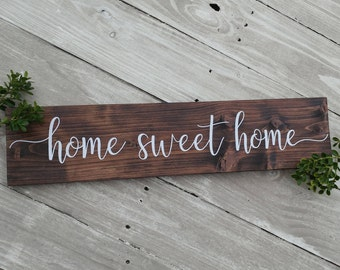 Home sweet home sign, rustic wood sign, wood wall decor, wood wall art, home decor, farmhouse style sign, housewarming gift