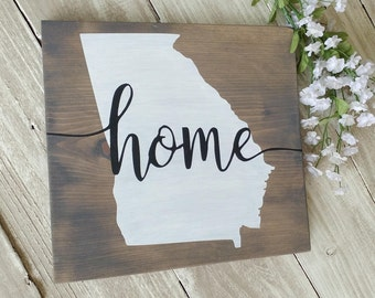 State Wood Sign Home Georgia Rustic Signs Wall Decor Art