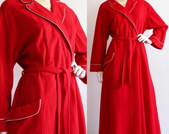 Vintage 1940s | L-XL | poppy red, lightweight wool dressing gown