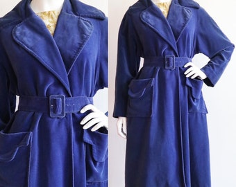 Vintage 1950s | M-L | Royal blue cotton velveteen coat by Helen Van Vliet