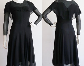 Vintage antique 1920s-1930s | Small | wicked silk chiffon dress with cape collar and flowing skirt
