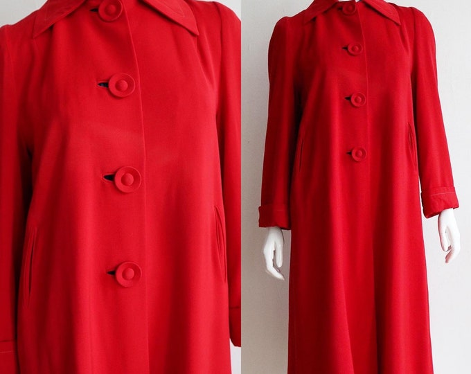 Featured listing image: RESERVED Vintage 1940s   Size medium   fine wool gabardine red overcoat
