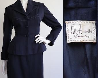 Vintage 1950s | Medium | RARE Lilli Ann wool gabardine skirt suit - Lilli Annette line