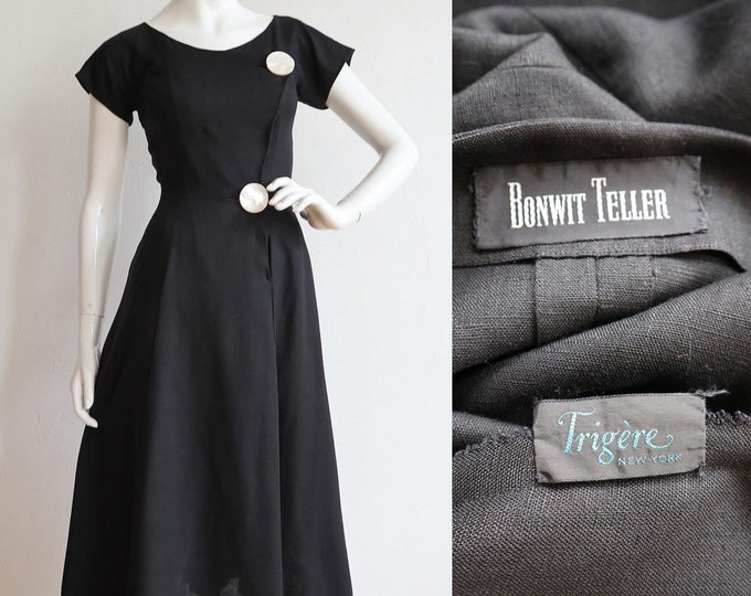 Featured listing image: Vintage early 1950s   S-M   RARE Pauline Trigère tailored linen dress with massive Mother of Pearl buttons