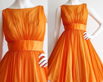 Vintage 1960s | XXS/XS | Vivid orange silk chiffon party dress