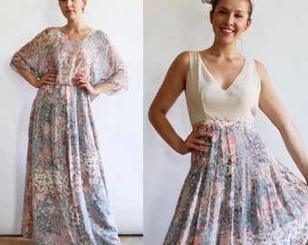 Vintage 1990's | Small | Oscar de la Renta pastel floral silk crepe + chiffon gown