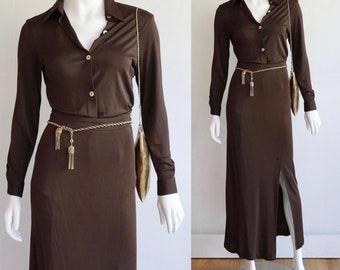 Vintage 80s/90s | Small | Chic and minimal rayon jersey skirt set!
