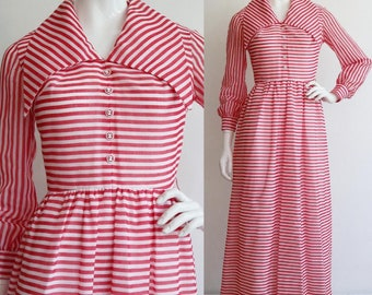 Vintage 1970s   XS-S   Awesome striped polyester/cotton maxi with humongous collar