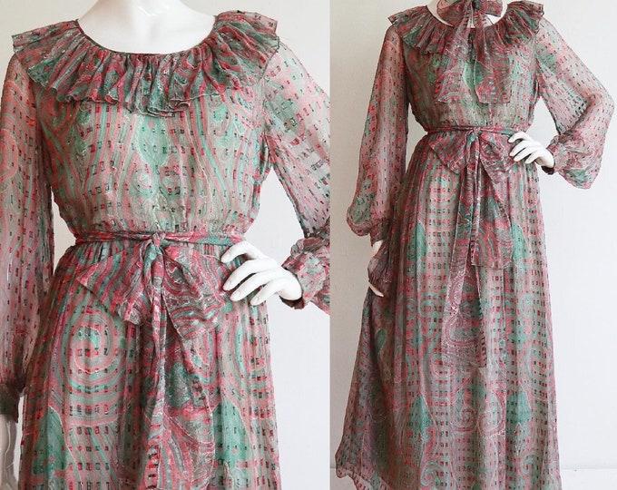 Featured listing image: Vintage 1970s | L-XL | stunning silk chiffon prairie dress by Richilene New York.