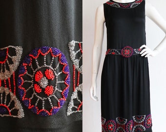 Vintage antique 1920s | Small | Silk beaded flapper dress with belt