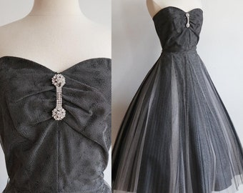Vintage 1950s | Small | black and white tulle party dress by David Taub