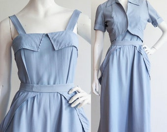 Vintage 1940s | Medium | stunning periwinkle rayon shantung dress and jacket ensemble by June Arden