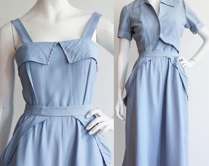Featured listing image: Vintage 1940s | Medium | stunning periwinkle rayon shantung dress and jacket ensemble by June Arden