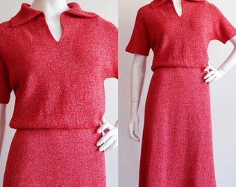 Vintage 1950s | M- L | Heather red knit dress!