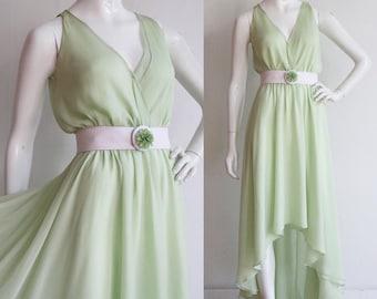 Vintage 1970s | S - L | Designer silk chiffon gown with high - low skirt hem.