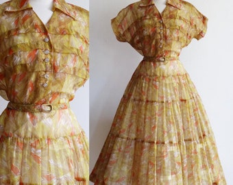 Vintage | M/L | late 1940's/ early 1950's sheer nylon swing dress | Abstract print | tiered full circle skirt