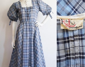 Vintage 1940s-1950s | Small | Cotton voile plaid day dress with balloon sleeves by R&K Originals.