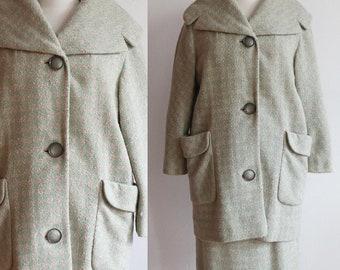 Vintage 1960s | houndstooth cocoon coat skirt set