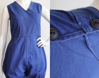 Vintage 1930s   S-M   Cobalt blue cotton romper!