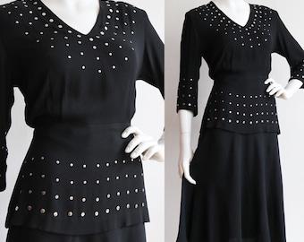 Vintage | M | rare 1940's rayon crepe, studded 2 piece dress!