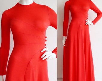 Vintage 1970s   XS-S   super sexy orange nylon jersey gown