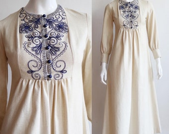 Vintage 1960s | small | embroidered cotton maxi dress