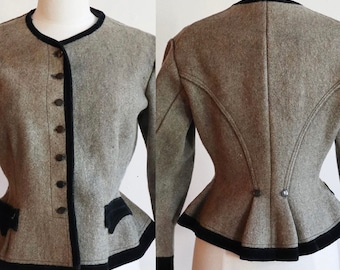Antique 1800s -1900s   Medium   fitted wool jacket with peplum and velvet trim
