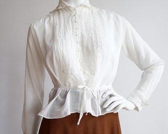 Vintage antique 1910s | XS-M | Beautiful cotton voile blouse