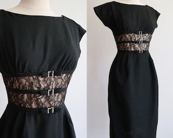 Vintage 1950's / 60's black sheat wiggle dress with nude illusion waistline / size extra small