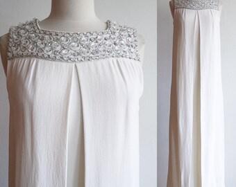 Vintage 1960s | Medium | Frank Usher moss crepe gown