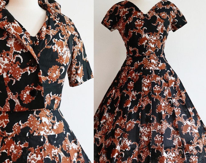 Featured listing image: Vintage 1950's Swiss dot floral cotton dress and jacket set   new look full pleated skirt   50's Alper Schwartz