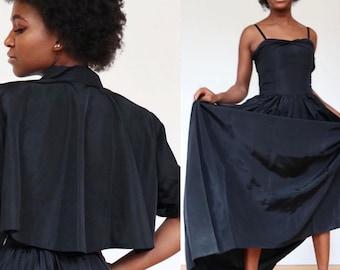 Vintage | XS | 1940's Hollywood glam, black taffeta gown with swing bolero!