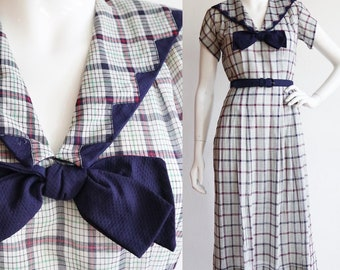 Vintage 1940s | Small | Cotton voile plaid day dress