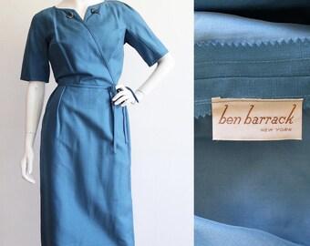 Vintage 1950s | M/L | beautifully tailored silk wiggle dress by designer Ben Barrack