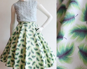 Vintage 1940's   Small   Novelty feather print cotton piqué circle skirt - day glow