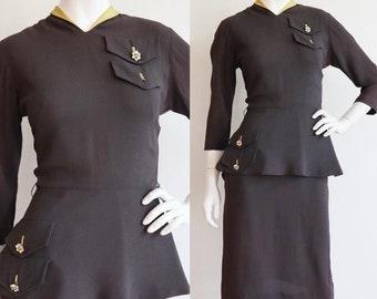 Vintage 1940s | Small | rayon jersey/faille peplum waist work dress - futuristic
