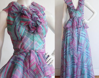 Vintage 1970s | S - M | Romantic DEADSTOCK designer cotton organdie gown by Albert Capraro Mint condition