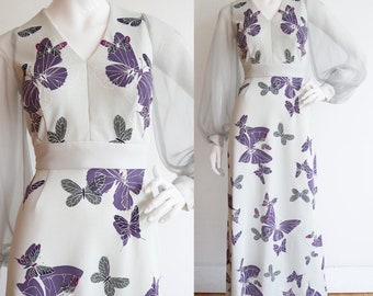 Vintage 1970s | Small | Alfred Shaheen polyester maxi with butterflies and bishop sleeves