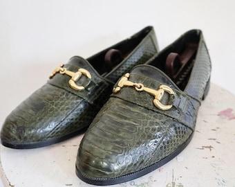d96ae57c0c29 Vintage men s snakeskin loafers size 8