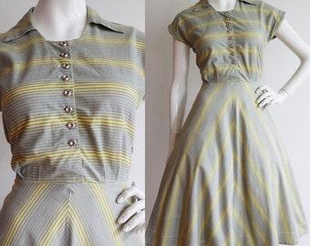 Vintage 1940s | Medium | Lightweight cotton day dress.