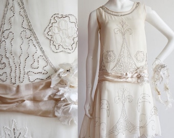 Vintage Antique 1920s | XXS-S | rayon chiffon beaded wedding dress (and slip) with matching headpiece